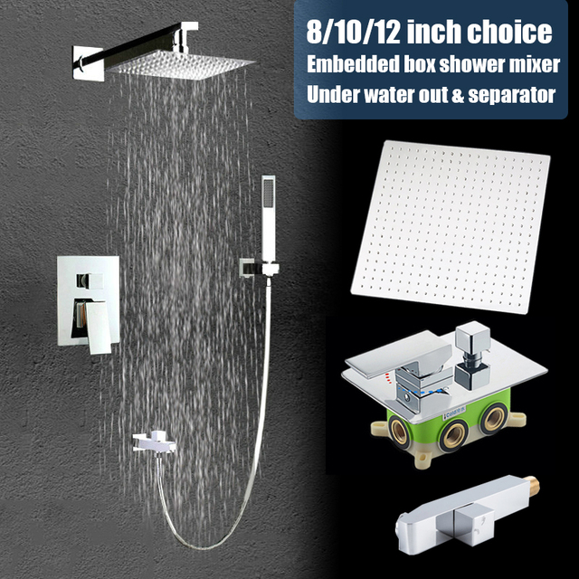 Quality 3 functions wall mounted shower set brass mixer faucet 8 10 12 inch stainless steel rain shower head with under tap