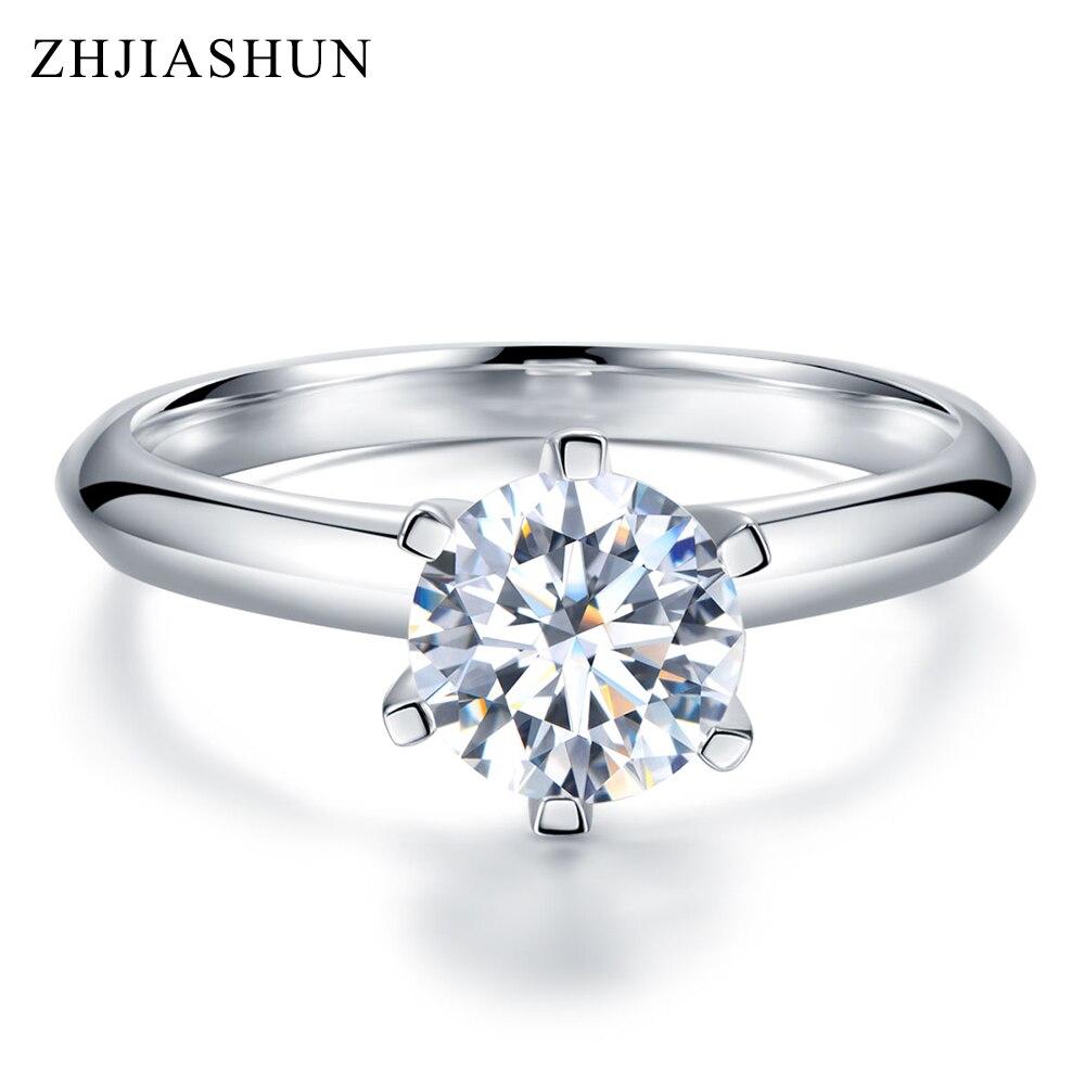 ZHJIASHUN Forever 1ct Moissanites diamant anneaux solide 9 K or blanc anneaux de mariage pour les femmes F bijoux