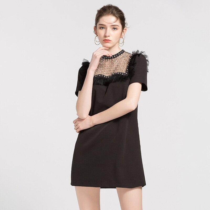 Nappa Femminile Corta Twotwinstyle Borda Abbigliamento Black Vestiti Scava Modo Vestito Che Mini Patchwork Estate Nuove Di Delle Dress Donne Il Fuori 2018 Manica vIv0q