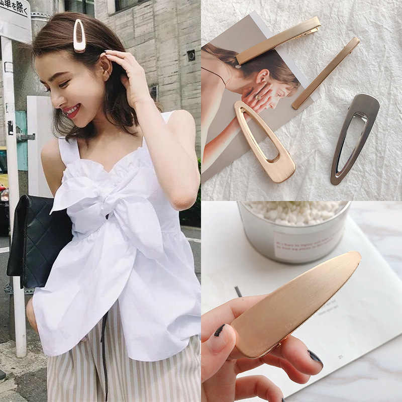 2019 Fashion Simple cool wind retro brushed matte metal hairpin smooth clip Women Girl Jewelry Hair Accessories Hairgrips D2835