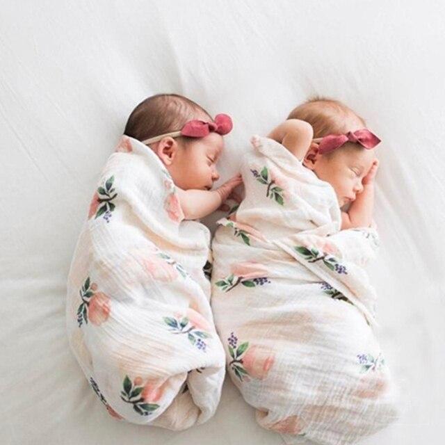 Muselina paño de algodón bebé recién nacido mantas de bebé doble ...