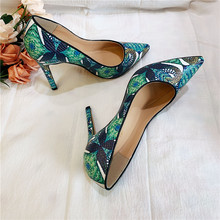 Free shipping fashion women Pumps lady green printed snake  Pointy toe high heels shoes size33-43 12cm 10cm 8cm Stiletto heeled fashion sweet women 10cm high heels pumps female sexy pointed toe black red stiletto high heels lady pink green shoes ds a0295