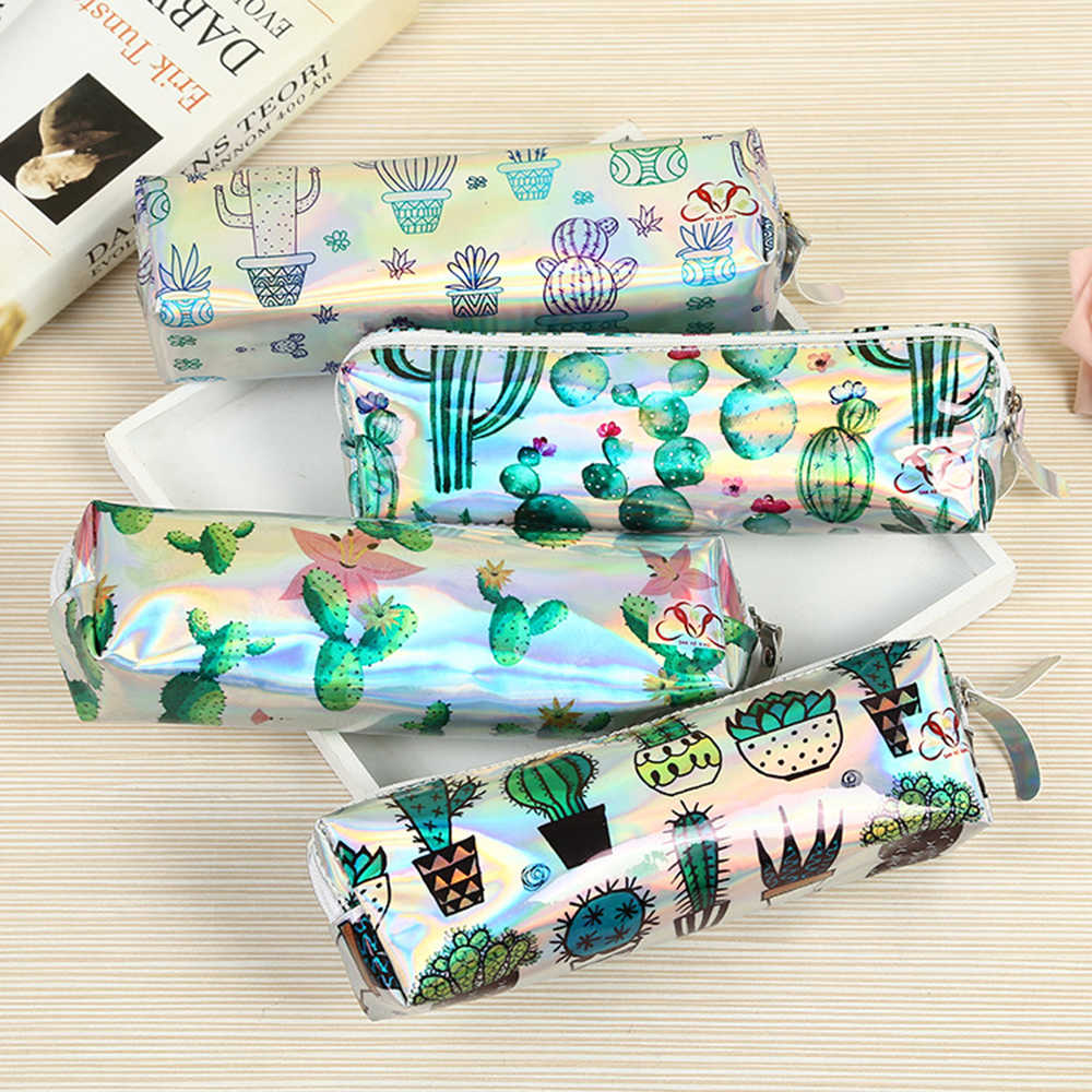 Cactus Pencil Case Holographic Laser Pen Bag For Girl Boys Student Large Capacity PU Waterproof Pen Box School Supply Stationery