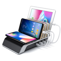 Multi 3 USB Ports+1 Type C Desktop Charging Station With QI Wireless Charger Quick Charging Charger Dock For ipad Smartphones