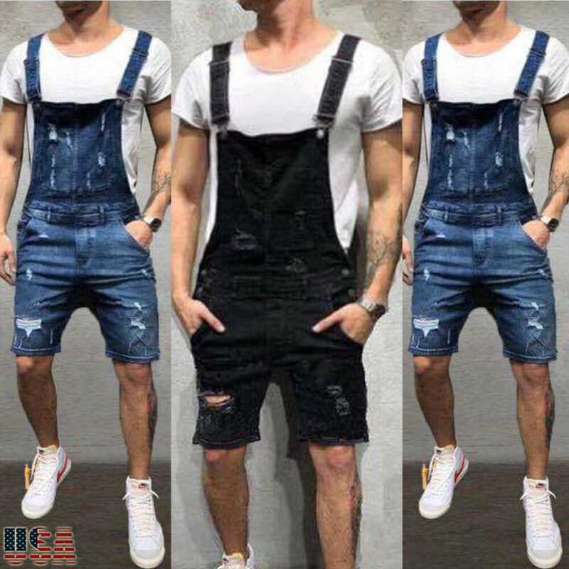 Men's Denim Bib Overalls Fashion Ripped Jeans Slim Jumpsuit With Pockets Men's Slim Washed Denim Bib Overalls Ripped Jumpsuits