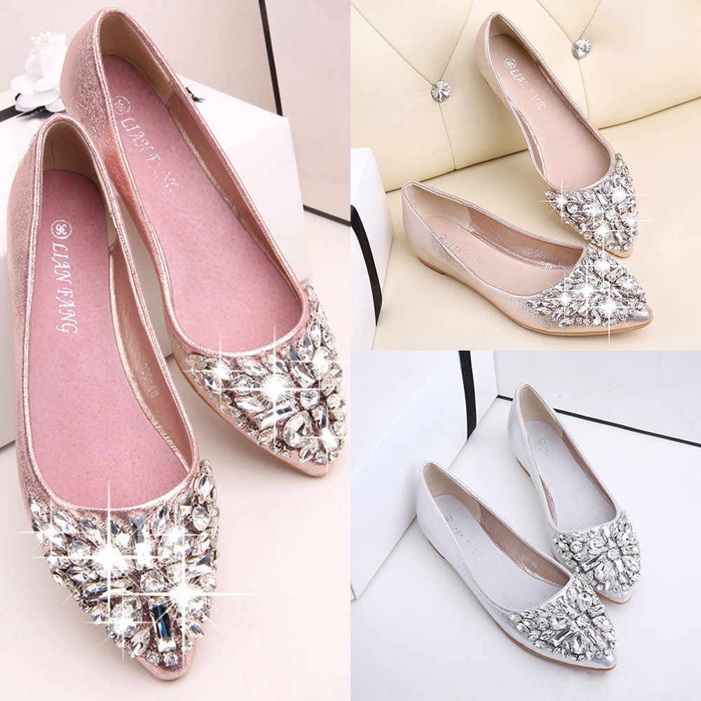 ... 2018 spring and summer Women Flats Shoes Pointed Toe Ladise platform  shoes Casual Rhinestone Low Heel ... 5a38f9dd10d8