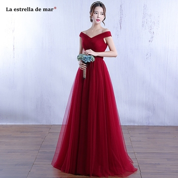 sukienki na wesele damskie new tulle sexy V neck OFF shoulder A Line navy blue burgundy dusty pink bridesmaid dresses long