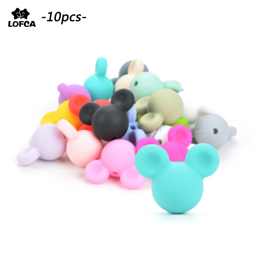 Wholesale 10pcs/lot Mouse Baby Teething Beads Cartoon Silicone Beads For Necklaces BPA Free Teether Toy Accessories Nursing DIY(China)
