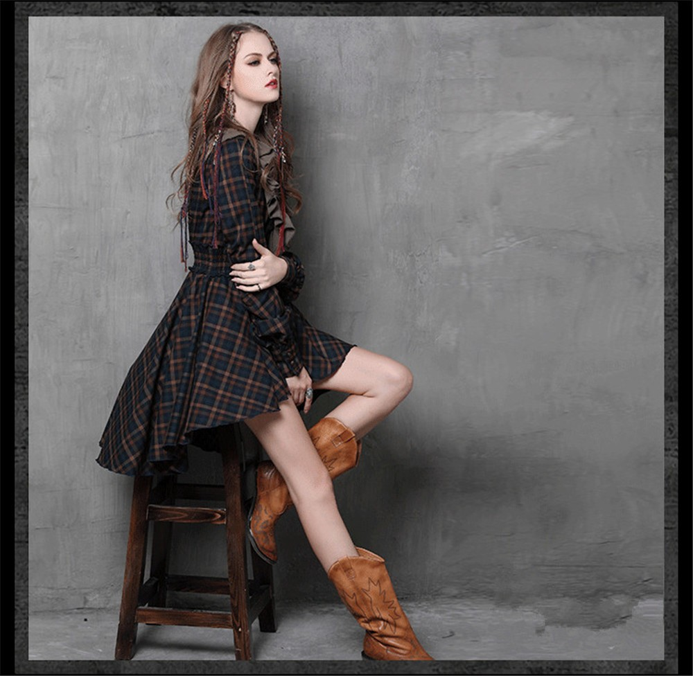 Vintage Autumn Elegant Plaid Women Dress Tunic 90% Cotton Dress Women Long Sleeve Ruffles Vestidos Femininos Vintage Dresses (5)
