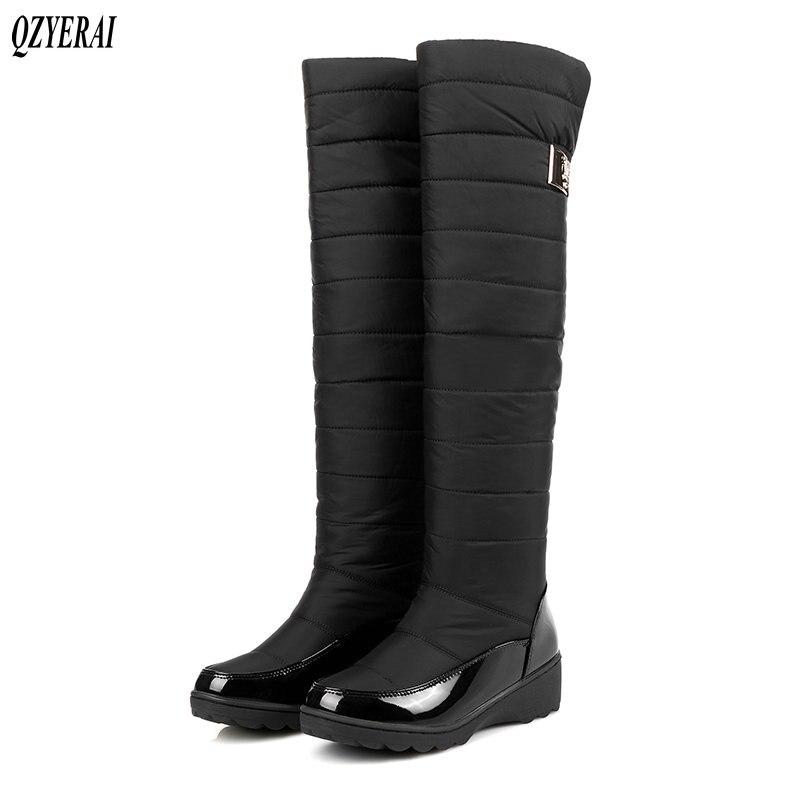 ed031d280 azul Zapatos Botas Nieve Negro 2018 Caliente Mujeres La Las De Rodilla Ruso Frío  Invierno Sobre Felpa ...