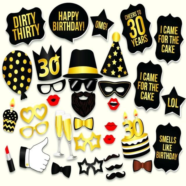 Souvent Photo Booth Props Adulto 30th compleanno stile Uomo Donna 30 anni  SI37