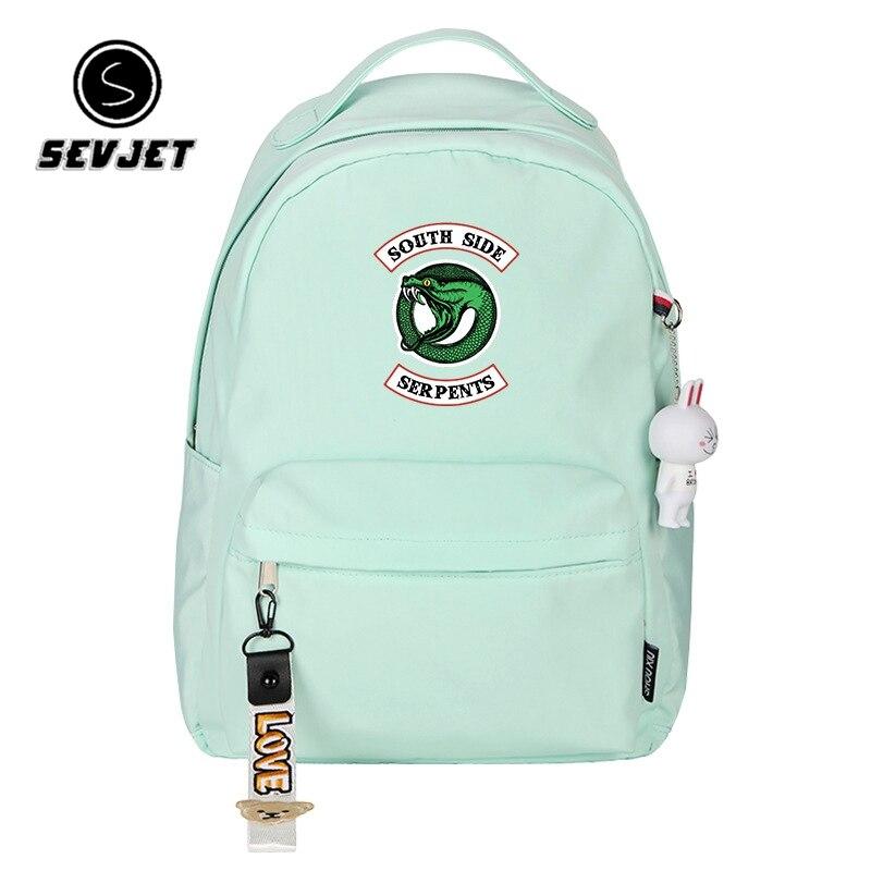 Riverdale Women Pink Backpack Kawaii Travel Backpack Canvas School Bags For Teenage Girls Mochila Feminina Riverdale Back Pack