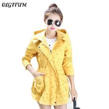 2017 Autumn winter new Women windbreaker Long section Hooded jacket Slim thin Dot Print jacket coat casual Loose trench coat