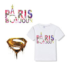 ZOTOONE Iron on Transfers for Clothing Stripes Clothes Letters Golden Patches Applique T-shirt Diy Patch E