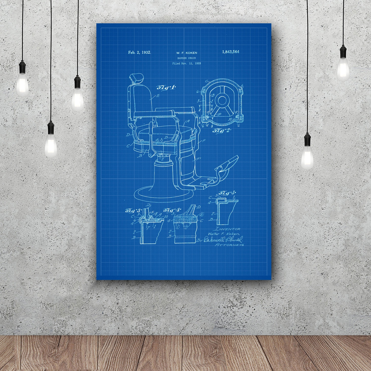 Barber Chair Patent Print Barber Art Silk Poster Home Decor 12x18 24x36inch ...