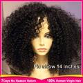 Glueless parte dianteira do laço peruca de cabelo humano mulheres negras afro kinky curly peruca brasileiro 8A kinky rendas crespos peruca dianteira do laço curto encaracolado peruca