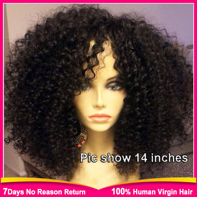 glueless lace front human hair wig black women afro kinky curly wig 8A  brazilian kinky curly lace wig short curly lace front wig af526b8d5