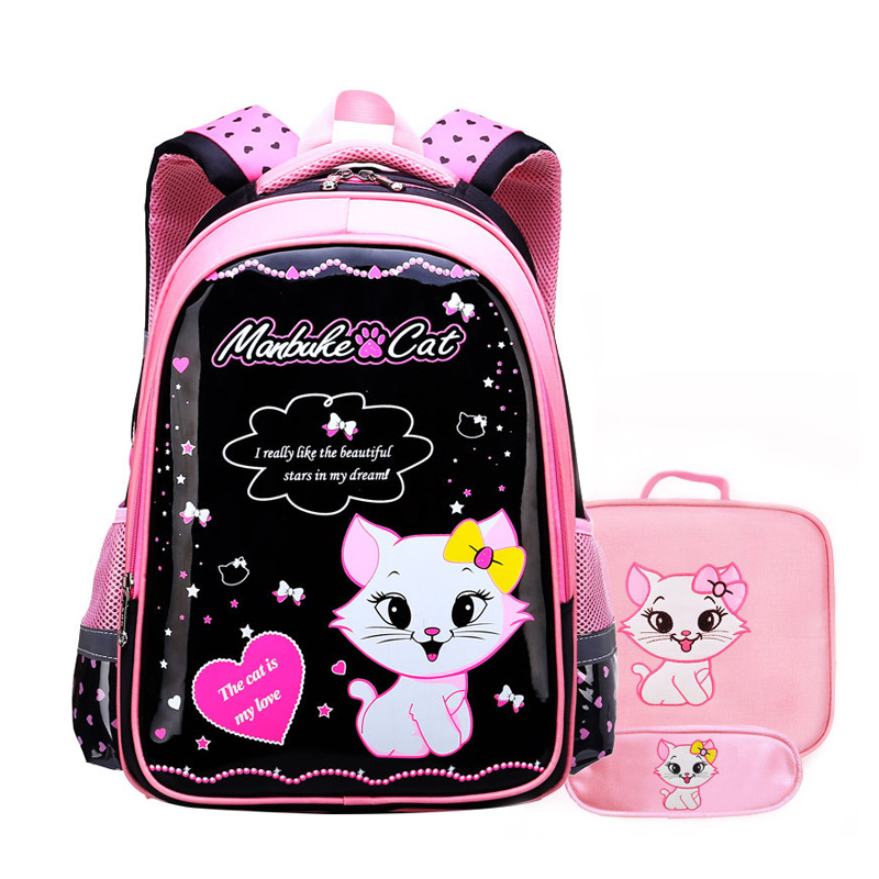 2019 Children Cute Cartoon Cat Backpack Girls PU Primary Schoolbag Kindergarten Kids Hard Shell Book Backpacks Mochila Infantil