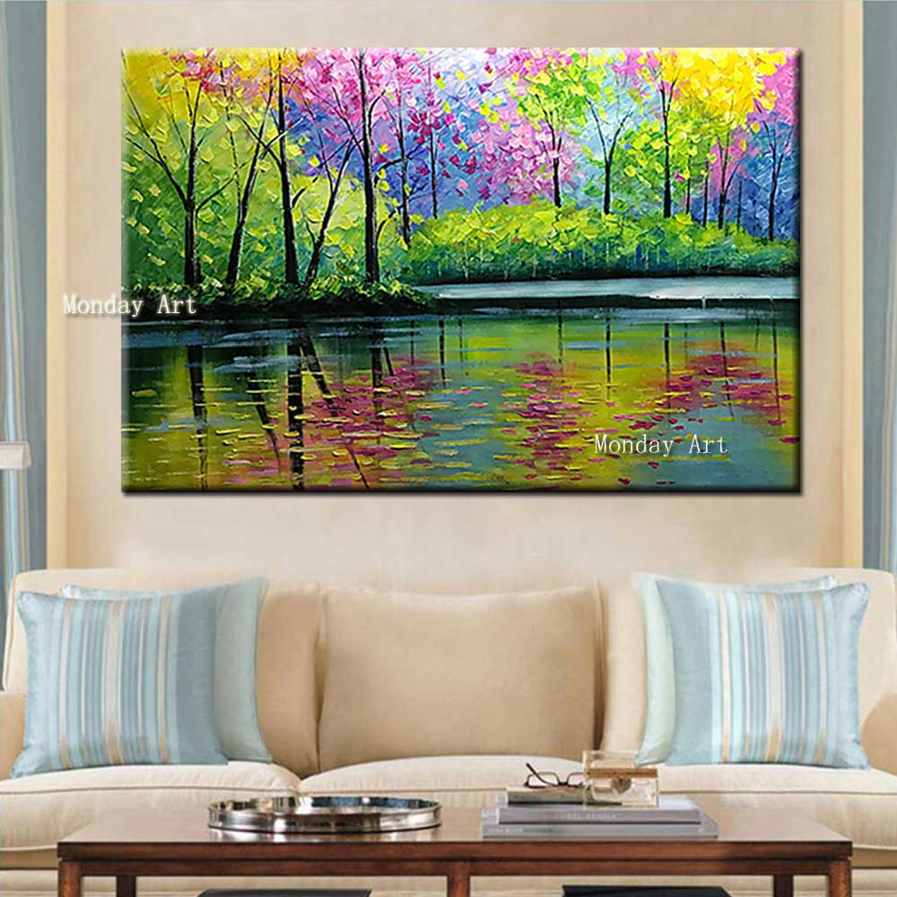 Drop-Shipping-Hand-Painted-Abstract-Colorful-Forest-Tree-Canvas-Oil-Painting-Picture-Art-Painting-Living-Room (2)