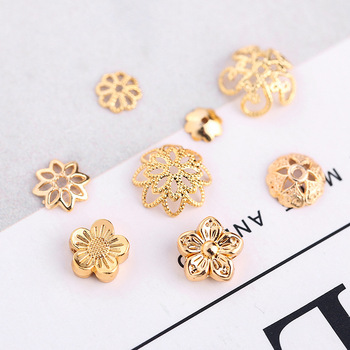 20pcs/lot Gold Color Filigree Flower Bead Caps Connectors Charms Metal Copper End Beads Cap For DIY Jewelry Making Findings