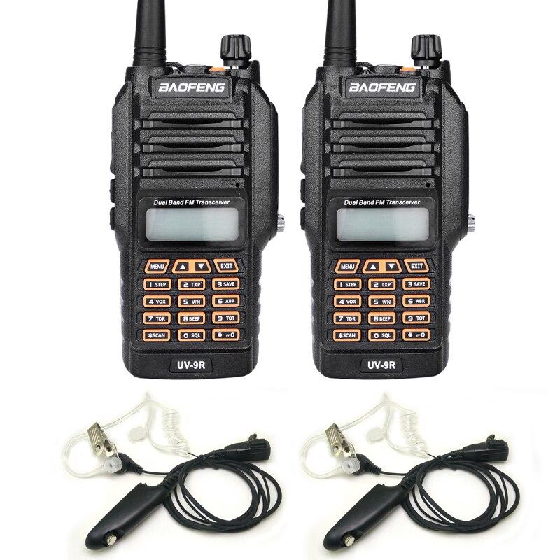 Новий Baofeng UV-9R Handheld Walkie Talkie 8 Вт UHF VHF Подвійний Смуга IP67 Водонепроникний Шумовий Два Шлях Радіо Для Полювання з навушниками 2 ШТ.
