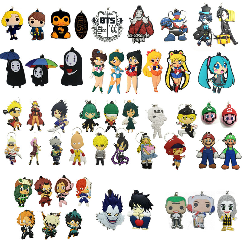 Harmless Silicone Keychain My Hero Academia Super Mary Sailor Moon Naruto Hatsune Miku Death Note Spirited Away Cartoon Pendant