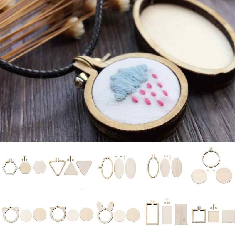 Wooden Cross Stitch Hoop Ring Embroidery Circle Sewing Kit Frame Craft Set Wooden Frame 2 Chip Screw 2 Screw Nut