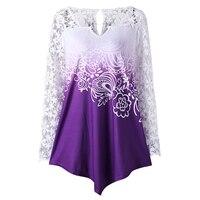CharMma 2017 New Oversize Women Spring Autumn Tops Fashion Plus Size Lace Yoke Ombre Shirt Long