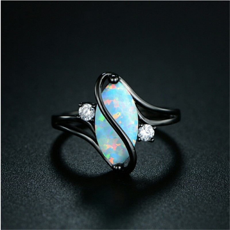 Oval Opal Stone Ring Black Gold Color Rings Fashion Jewelry For Women