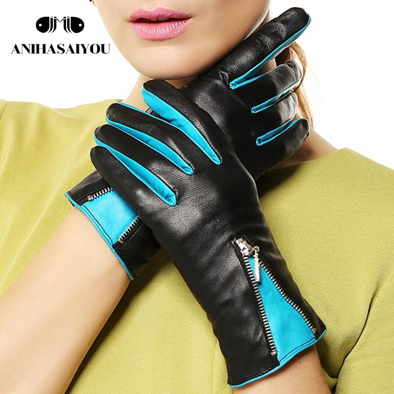 Sheepskin gloves women winter fashion warm winter gloves women warm short leather gloves women zipper contrast color- L141NQ