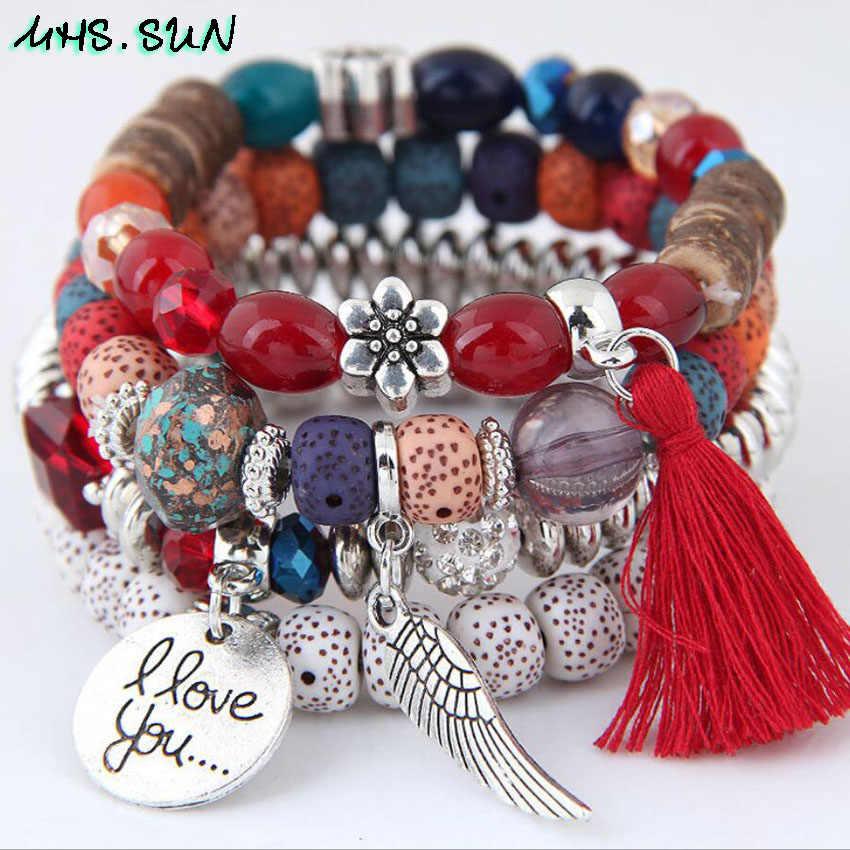 MHS. שמש מוגזמת בוהמיה סגנון נשים צמידי צמיד אופנה חרוזים ציצית צמידי תכשיטים אתניים אביזרי לחופשה
