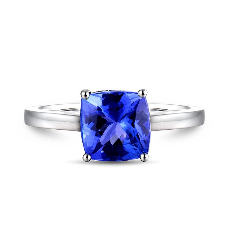 솔리드 18kt 화이트 골드 반지 자연 블루 tanzanite 약혼 반지 디자인 쿠션 컷 보석 쥬얼리 기념일 간단한 디자인-에서반지부터 쥬얼리 및 액세서리 의  그룹 2