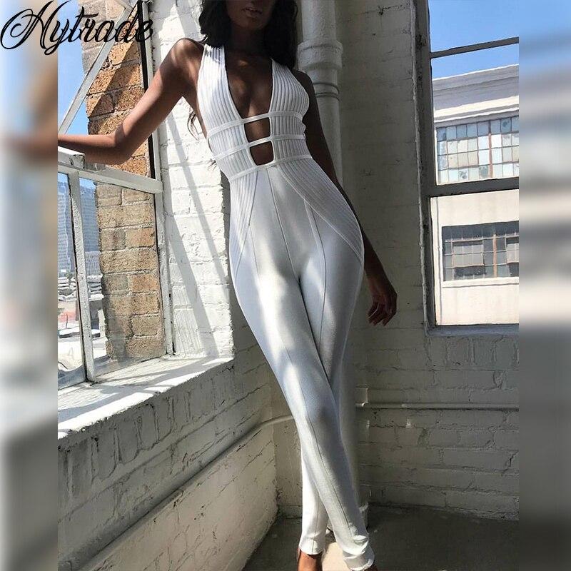 Blanc Femelle V Femmes Parti Sexy Clubwear 2018 Retour Zipper Combishort Chaude Manches Nervure Bandage Sans Maigre Salopette Mince Cou Plongeon q7AAnUZ4