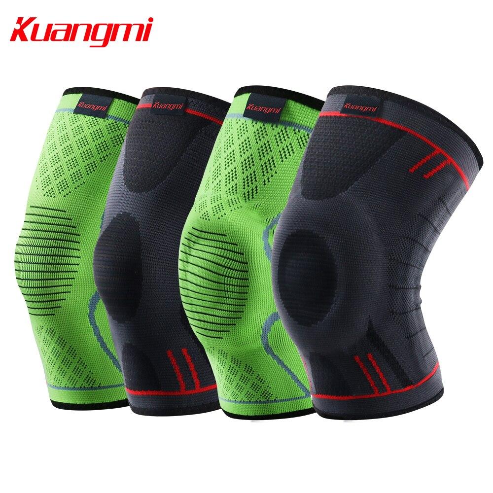 Kuangmi 1 unid la rodilla almohadillas de compresión caliente rótula Protector apoyo elástico deportes de voleibol las venas varicosas manga