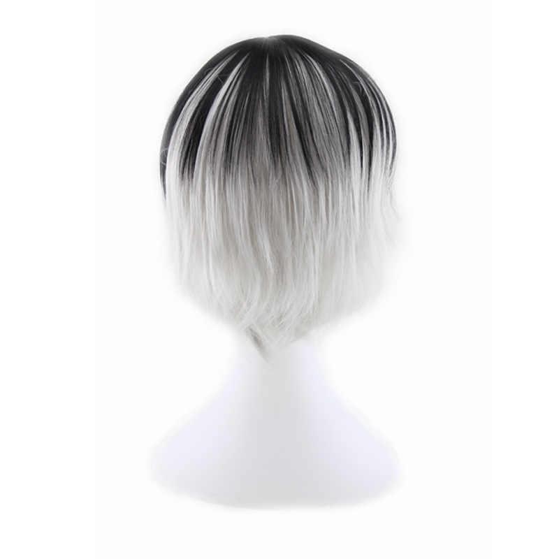Similler Korte Rechte Mannen Synthetische Pruiken Zwart Zilver Gemengde Kleur Hoge Hittebestendige Vezel Cosplay Haar