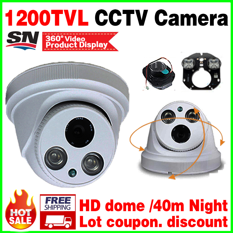 New Upgrade!Two Array 1200tvl Cctv HD Camera IR-CUT Night Vision 50m hemisphere Indoor Dome Analog security surveillance vidicon new upgrade 48led 1200tvl hd cctv camera cmos analog pal or ntsc security vidicon infrared night vision dome indoor home video