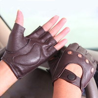 Men'S Genuine Leather Gloves New Spring And Summer Driving Cycling Non Slip Half Finger Gloves Outdoor Sports M044W