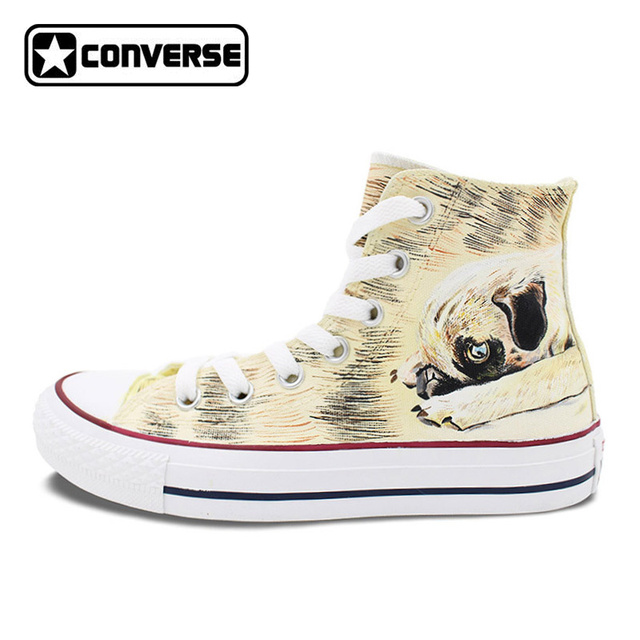 High Top Converse All Star Women Men Shoes Custom Pet Dog Pug Original  Design Hand Painted