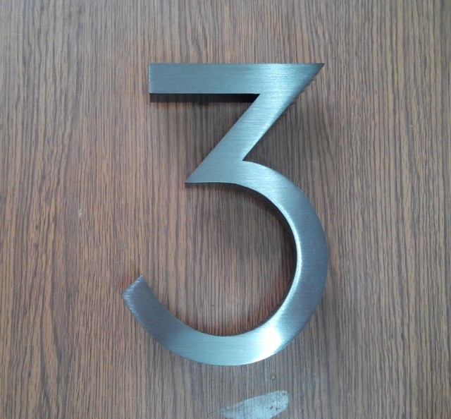 House Number 3 Stainless Steel High Quality Signs Black 6inch 15cm