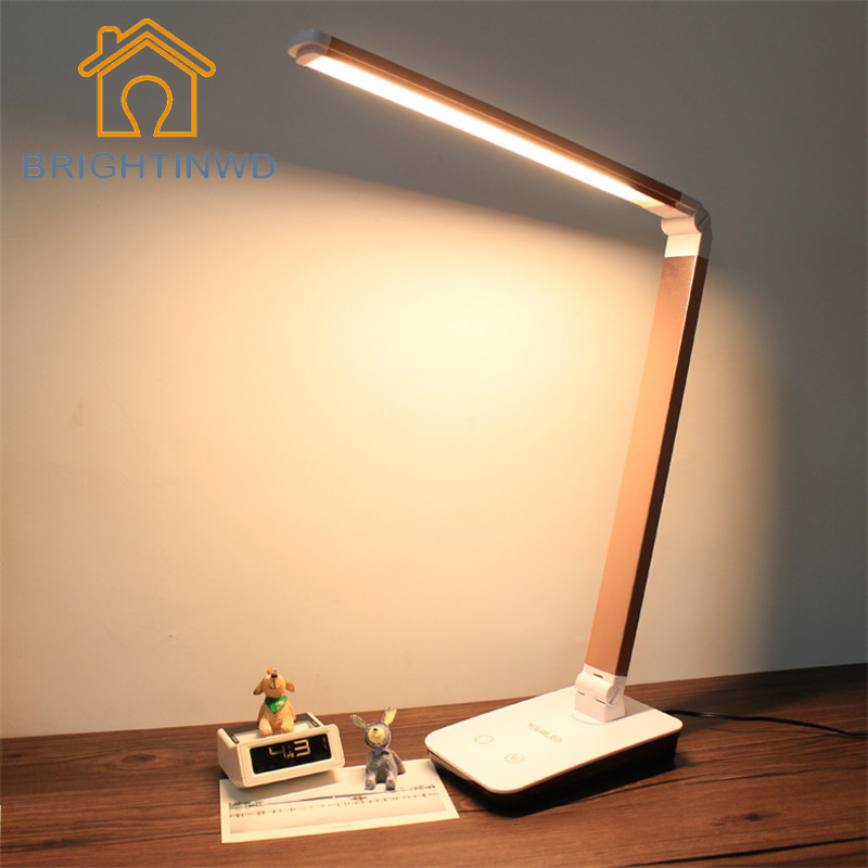 ФОТО 90-240V Portable Adjustable Desk Lamps 12W 60 LEDs Lamp Beads Table Lamp Foldable White Temperature Changeable With Touch Dimmer