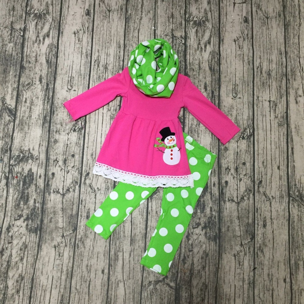 FALL OUTFITS persnickety girls 3 pieces with scarf sets girls Christmas clothing kids Snowman applique top with polka long pants купить недорого в Москве
