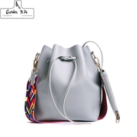 Gorden Yi De Fashion Colorful Strap Bucket Bag Women High Quality Pu Leather Shoulder Bag Brand