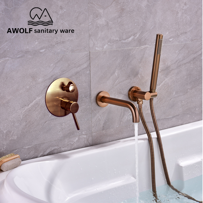 Bathroom Shower Set Bathtub Faucet Brushed Rose Gold Concealed Chic Simplicity Solid Brass 3 Pcs Mixer