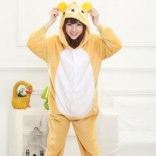 Mother Father Daughter Boy Dresses Family Matching Sleepwear Hooded Pajama Cartoon Animal Yellow Bear Cosplay Pyjama Pijamas