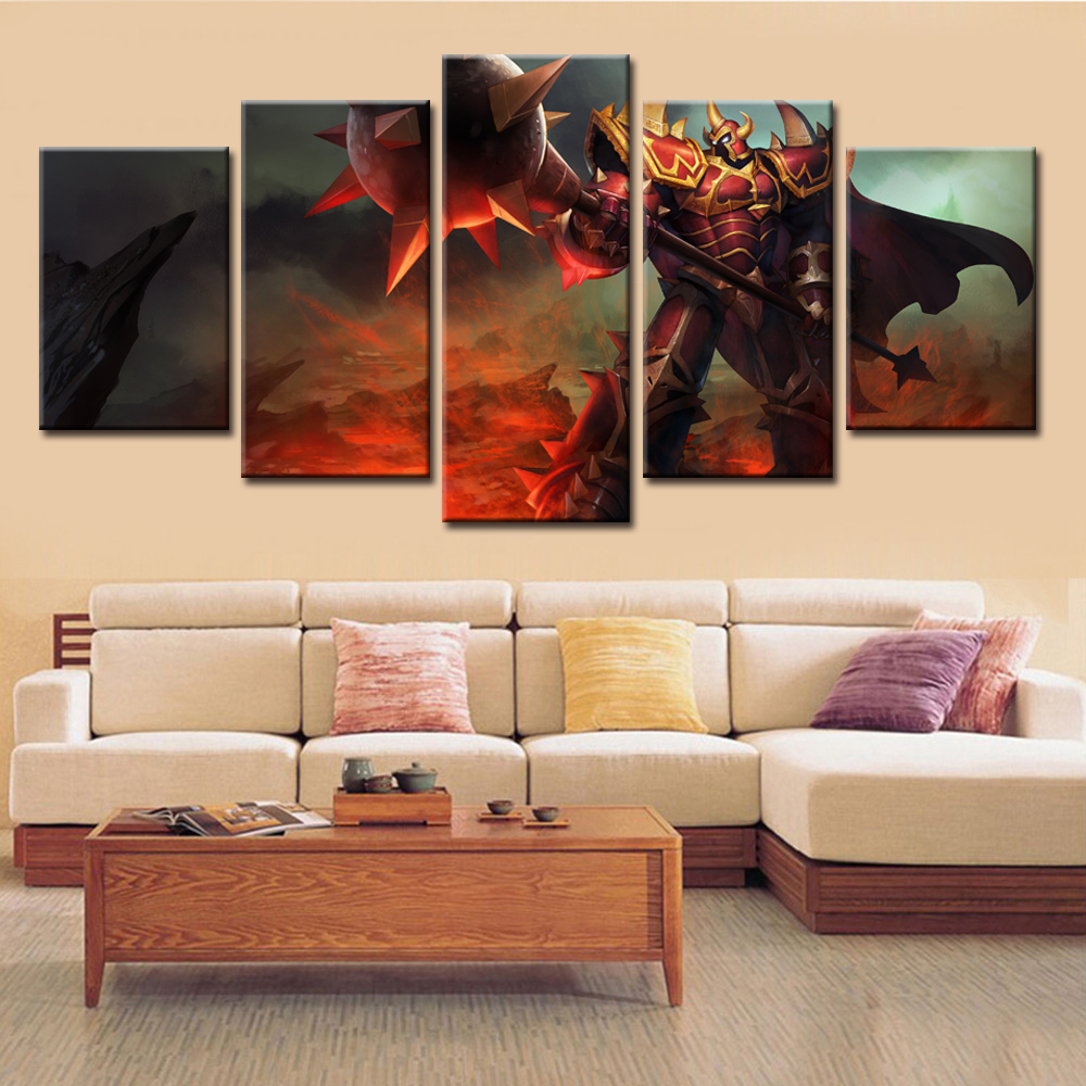 5 Pieces Abstract Modular Painting Video Game Characters Decorative Canvas Wall Art Pictures For Living Room