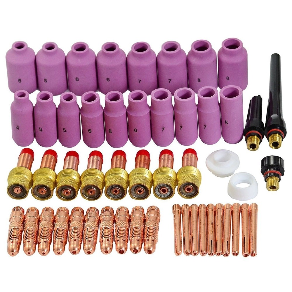TIG Gas Lens Collet Body Consumables Kit Fit WP 17 18 26 TIG Welding Torch 51pcs chinese brand welding tig torch body tig consumables manager recommended fit sr wp17 18 26 67pk