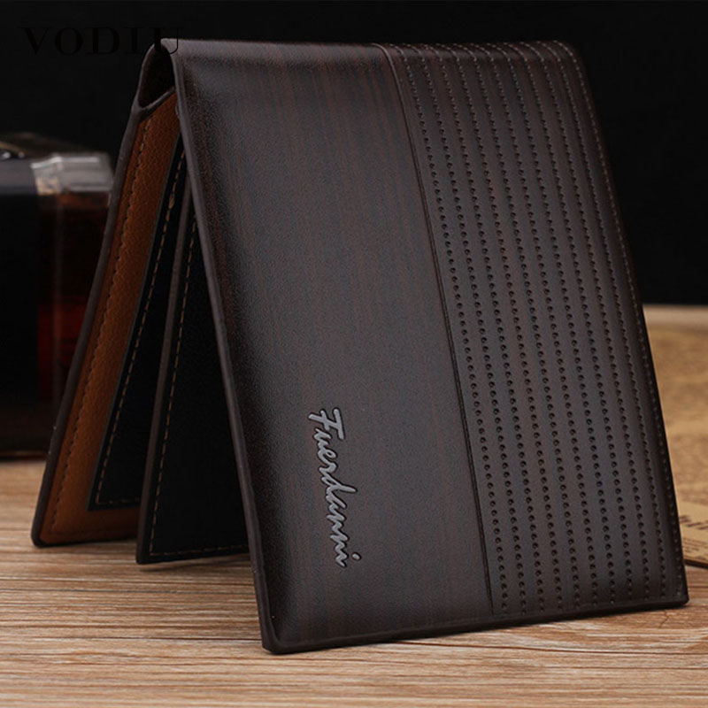 Men Leather Wallet Famous Brand Vintage Short Slim Coin Portomonee 2018 Male Purses Photo Cash Money Bag Credit Card Holder