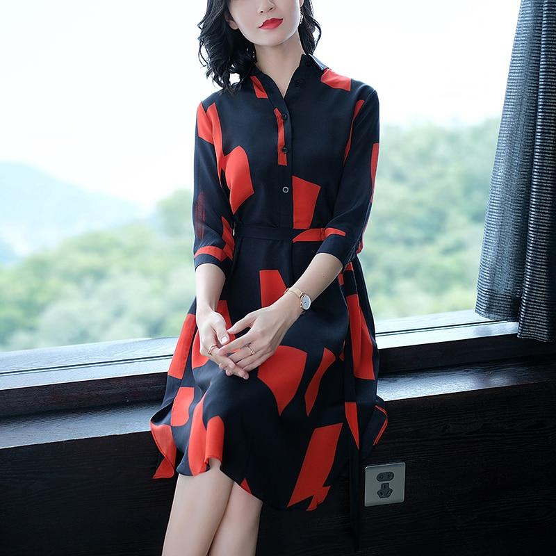 Élégante Robes Dames Soie Sexy A Vêtements rouge Coréenne Robe Bleu ligne Femme Automne Partie Faux Femmes Bureau Verano 1ZUSS