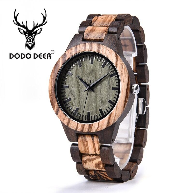 DODO DEER Vintage Green Dial Men Wood Watches Gift For Love Environmental Watch Wooden Watch Custom Logo Drop Shipping A08-7
