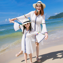 Family fashion summer clothes for mother and daughter white flare sleeve one-piece dress